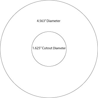 "die line for circle shaped label or sticker with cutout, 4.563"" outside diameter, 1.625"" inside cutout diameter"