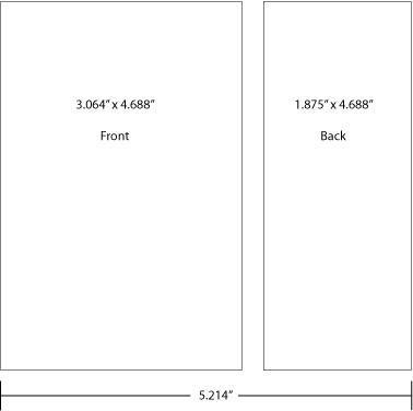 "dieline for special sized label 3.064""x4.688"" front - 1.875""x4.688"" back"