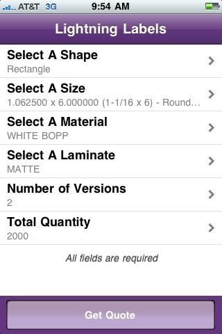 iLabel custom label quoting system for the iPhone